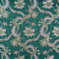 Silk Brocade, 18th Century, Textiles, Quilts, Fabric, Green, Pattern, Tejido, Comforters