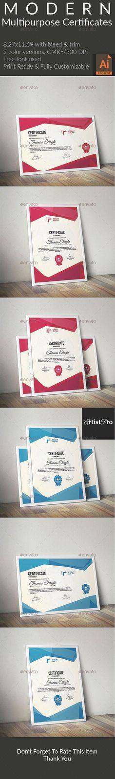 Multipurpose Certificate by ArtistPro Name: Certificate Template color Ai Stationery Printing, Stationery Templates, Stationery Design, Print Templates, Resume Templates, Design Templates, Certificate Design, Certificate Templates, Illustrator Cs5