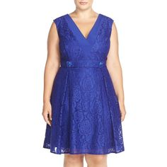 Adrianna Papell V-Neck Lace Fit & Flare Dress (€160) ❤ liked on Polyvore featuring plus size fashion, plus size clothing, plus size dresses, iris, plus size, cocktail dresses, plus size lace dress, sleeveless cocktail dress, blue lace dress and blue lace cocktail dress