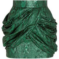 Balmain Metallic silk-blend jacquard mini skirt ($1,380) ❤ liked on Polyvore featuring skirts, mini skirts, balmain, emerald, short green skirt, metallic skirt, pleated skirt, wrap skirt and mini skirt