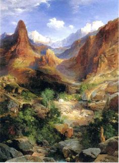 Bright Angel Trail by Thomas Moran View more from http://www.paintingsframe.com/Thomas+Moran-painting-c54.html