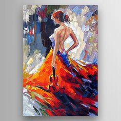 lona pintura al óleo de una mujer con una guitarra en la mano pintada a mano se extendía enmarcado 2015 – €82.64