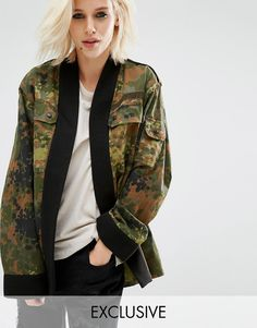 Reclaimed+Vintage+Military+Camo+Kimono+With+Contrast+Band
