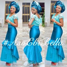 Nigerian wedding guest wearing Blue Gele, Blue lace top and a Blue a Skirt