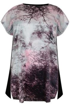 Black & Pink Sunset Print Short Sleeve Top