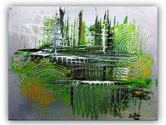 BURGSTALLER Acrylbild Gemälde Grün Grau Gelb handgemalt abstrakte Malerei Bilder