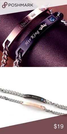 f41b18fd0a STAINLESS STEEL HIS QUEEN HER KING COUPLES BRACELE These matching couples  bracelets are a perfect show
