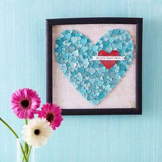 Framed Heart Artwork with Inspirational Quotej ~ you could do this with any shaped die-cut punch tool.  How about snowflakes for winter? :)