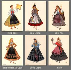 Want to make and wear one of each. Folk Clothing, Historical Clothing, Folk Costume, Costume Dress, Laura Costa, History Of Portugal, Portuguese Culture, Visit Portugal, Old Dresses