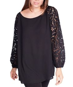 Another great find on #zulily! Black Lace Puff-Sleeve Top - Plus #zulilyfinds