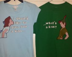 Peter Pan and Wendy Couple Shirts, Perfect for the Disney Couple you are!!