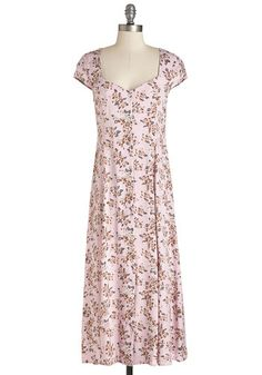 How Harmonious Dress by Mink Pink - Pink, Floral, Print, Buttons, Casual, Midi, Spring, Better, Long, Woven, Cap Sleeves