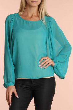 Dolman Sleeve Chiffon Top In Turquoise.