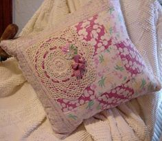 Cottage Porch Pillow Shabby Vintage Patchwork Cutter Quilt Doily Home Decor Pillow itsyourcountry