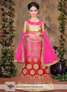 Striking Light Pink & Maroon Zari #Embroidered #Net #Kids #Lehenga #Choli