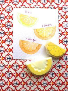 citrus rubber stamp. lemon orange lime hand carved por talktothesun
