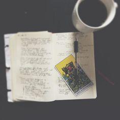 Bullet journal. Tarot. Coffee. It's a magical feel-good morning. #VSCOcam #feelgoodliving #riderwaite