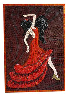 Scarlet Dancer Gold Smalti Mosaic