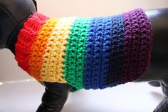 *Dog Sweater Shown is a shortened small your sweater length will be determined on the size you order, the striped pattern will vary in sizes* Who doesnt love rainbows? This Dog sweater is inspired by the ROYGBIV Rainbow. This is a striped sweater with red, orange, yellow, green, blue,