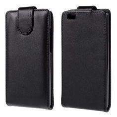 Lederen flipcase hoesje voor Huawei P8 Lite zwart
