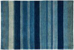 "Rug Bazaar at One King's Lane  Zollanvari, Iran wool, 3'9""x5'7""' navy, sky blue  $2499"