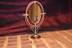 "Swivel Mirror Decorative Crystal and Pearl Edge Frame Dresser Decor 10 3/8""x7"" #Unknown #Unknown"