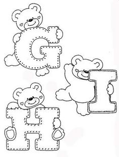 Fonts Alphabet Discover - alphabet and teddy coloring Coloring Letters, Alphabet Coloring Pages, Colouring Pages, Coloring Books, Felt Patterns, Applique Patterns, Applique Designs, Alphabet For Kids, Alphabet And Numbers