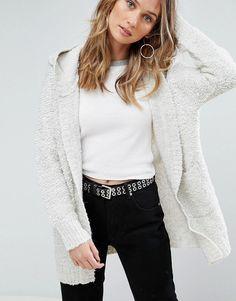 Pepe Jeans Rizzo Alpaca Wool Blend Hooded Cardigan - Gray