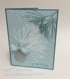 Ornamental Pines Card with Cotton Ball Puff Technique