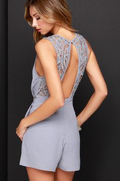 Grey Lace Romper ==