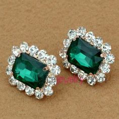 Unique rhinestone decorated zinc alloy stud earrings