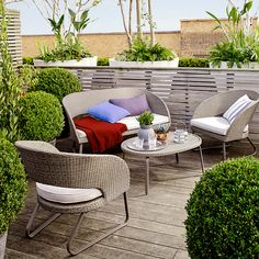 Buy John Lewis Corsica Garden Sofa, Coffee Table and Lounging Armchair Pair from our Garden Furniture Sets range at John Lewis & Partners. Home Bar Furniture, Modern Outdoor Furniture, Garden Furniture Sets, Buy Furniture Online, Contemporary Furniture, Furniture Design, Furniture Ideas, Outdoor Garden Rooms, Outdoor Living