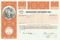 HWPH AG - Historic stock certificates - Berkshire Hathaway