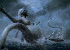 /o/-\o\ Ancient Mermaid by Francisco Sanz /o/-\o Scary Mermaid, Sea Creatures, Wallpaper S, Drawing S, Psychedelic, Sketches, Sky, Fantasy, Animals