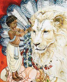 Lord Narasimha was the fourth Avatar of Lord Mahavishnu, which was taken to kill the demon Hiranyakashipu. The story of Narasimha avatar is connected with the story of Hiranyakashipu and Prahlad. Krishna Leela, Krishna Art, Hare Krishna, Ganesha Art, Indian Gods, Indian Art, Shri Hanuman, Lord Vishnu Wallpapers, Hindu Dharma