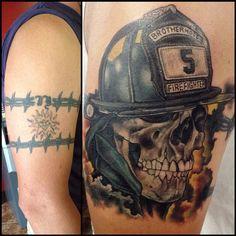 Cover up tattoo by: Matthew Lukesh www.matthewlukeshart.bigcartel.com Schulterpanzer Tattoo, Up Tattoos, Skull And Crossbones, Fire Department, Firefighter, Tattoo Designs, Cover, Firemen, Tattoo