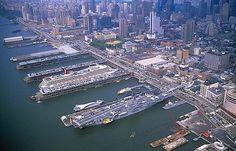 Aerial photo of USS Intrepid, NY