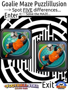 Maze and Spot the difference puzzle of a goalie doing his thing...