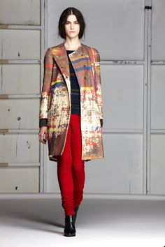 Quilt Print Wool Jacquard Coat/ Striped Knit Jacquard Pullover/ Leather Leggings