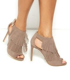 Why have one layer of fringe when you can have two in our Light Brown Fringed Cut Out Side Heels. #newlook #shoes