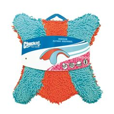 """Petmate Chuckit Indoor Squirrel Dog Toy Medium Orange/Blue 9"""" x 8.5"""" x 1"""""""