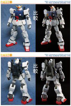 HG Gundam Ground Type - Customized Build Modeled by NGT Factory Japan Custom Gundam, Gunpla Custom, Gundam Tutorial, Ground Type, Real Robots, Before And After Pictures, Gundam Model, Mobile Suit, Plastic Models