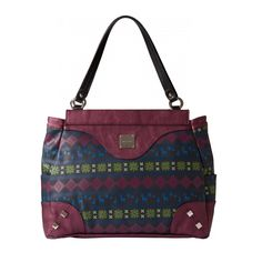 (Pronounced fay-leez). Wear the warmth and merriment of the holiday season on your arm when you step out with Feliz for Prima MICHE bags! Deep grey faux leather features a custom seasonal print on both sides in shades of berry, green and blue. Textured faux leather accents in metallic berry along with oversized studs complete this festive look. Silver hardware; side pockets. Base bag and handles not included. *Miche Canada* #michecanada #michefashion #fashion #style #purses #handbags