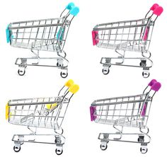 Mini Shopping Cart Realistic Trolley Toy Metal Material - 12cm Height