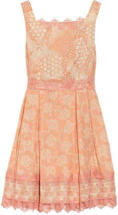 Anna Sui Orange Madeleine Lace trimmed Printed Silk Dress