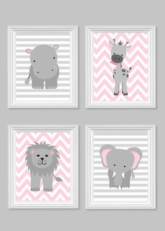 Zoo Nursery Decor Gray and Pink Nursery Girl Zoo Nursery Elephant Nursery Safari Nursery Jungle Decor Hippo Giraffe Zoo Canvas Art Elephant Nursery Art, Giraffe Nursery, Jungle Nursery, Girl Nursery, Nursery Grey, Safari Jungle, Animal Nursery, Nursery Room, Baby Girl Bedding
