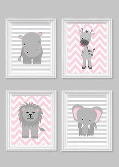 Mädchens Raum Dekor grau und Pink von SweetPeaNurseryArt auf Etsy