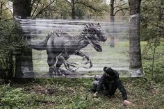 Russian artist Evgeny Ches uses clear plastic cellophane as a canvas to take his graffiti artworks to unusual locations. More street art via Laughing Squid Graffiti Artwork, Cool Artwork, Amazing Artwork, Painting Plastic, Spray Paint Plastic, Giant Animals, Plastic Wrap, Animals Images, Forest Animals