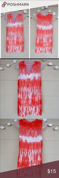 XCVI • Tie Dye Tunic Boho Tank Top (Orange/White) XCVI • Tie Dye Tunic Boho Tank Top (Orange/White)  —Size: Small —In Excellent Pre-Owned Condition.  —Orange/White tie dye top with slits on side. Very comfy--Perfect for leggings or jeans!   Questions?? —Don't hesitate to ask! XCVI Tops