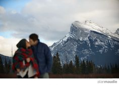 Banff Springs Hotel Wedding, Engagement Session, Banff Engagement Photography, ice, frozen, romantic, red, tartan, outdoors, Mt Rundle, Vermillion Lake
